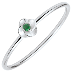 Ring Ontluiken - Eerste roze - klein model - wit goud en emerald - 18 karaat