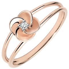 Ring Ontluiken - Eerste roze - roze goud en diamant - 18 karaat