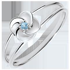 Ring Ontluiken - Eerste roze - wit goud en blauwe topaas - 9 karaat
