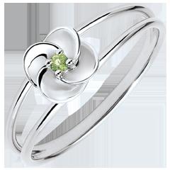 Ring Ontluiken - Eerste roze - wit goud en peridot - 18 karaat