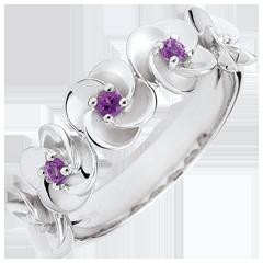 Ring Ontluiking - Kroon van rozen - 9 karaat witgoud en amethist - 9 karaat