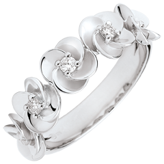 Ring Ontluiking - Kroon van rozen - 9 karaat witgoud met Diamanten - 9 karaat