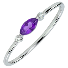 Ring Oriëntale Uitstraling - klein model - amethist en Diamanten - 9 karaat witgoud