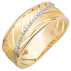 Ring Palme - 375er gebürstetes Gelbgold und Diamanten