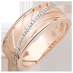 Ring Palme - 375er gebürstetes Roségold und Diamanten