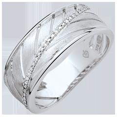Ring Palme - 375er gebürstetes Weißgold und Diamanten