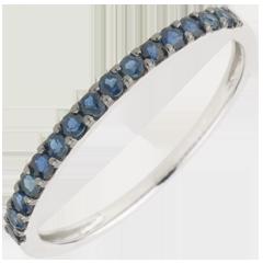 Ring Paradiesvogel - Einerreihe - Weißgold und Blauer Saphir