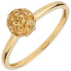 Ring Paradiesvogel - Kugel - Gelbgold und gelber Citrin