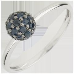 Ring Paradijsvogel - Bal - 9 karaat witgoud en Blauwe Saffier