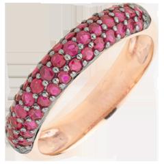 Ring Paradijsvogel - drie rijen - roze goud en robijn