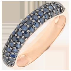 Ring Paradijsvogel - drie rijen - rozégoud en Blauwe Saffier 9 karaat goud