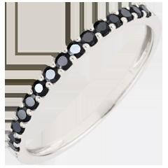 Ring Paradijsvogel - een rij - 9 karaat witgoud en zwarte Diamanten