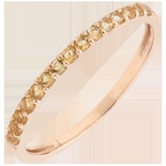 Ring Paradijsvogel - een rij - rozégoud en Gele Gitrien - 9 karaat goud