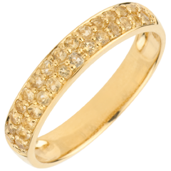 Ring Paradijsvogel - twee rijen - geel goud en geel citrien