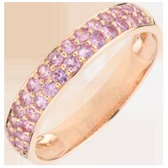 Ring Paradijsvogel - twee rijen - roze goud en roze saffier