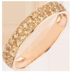 Ring Paradijsvogel - twee rijen - rozégoud en Gele Gitrien - 9 karaat goud
