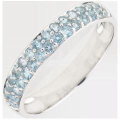Ring Paradijsvogel - twee rijen - wit goud en blauwe topaas