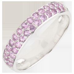 Ring Paradijsvogel - twee rijen - wit goud en roze saffier