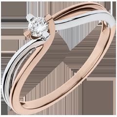 Ring Parfum Dageraad Nid Précieux - Claire - wit goud. roze goud - 0.11 karaat diamant - 18 karaat