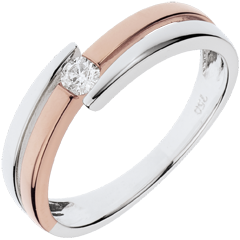 Ring Precious Nest - Salome - pink gold - 0.10 carat diamond - 18 carats