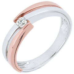 Ring Precious Nest - Solitaire Rings - pink gold. white gold - 0.18 carat - 9 carats