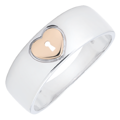 Ring Precious Secret - Heart - rose gold, white gold