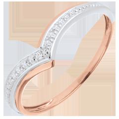Ring preziöser Goldflügel in Rot- und Weißgold