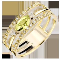 Ring Regard d'Orient - groot model - peridot en diamanten - geel goud 9 karaat