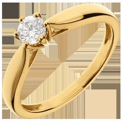 Ring Riet Geel Goud 6 Diamanten klauwen - 0.305 karaat