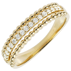 Ring Salty Flower - two rings - yellow gold - 18 carat