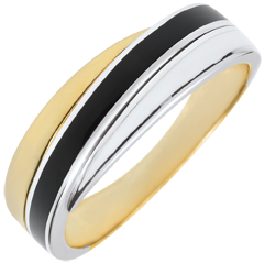 Ring Saturn - Lackduett - 18 Karat