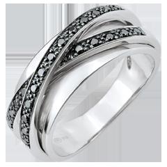 Ring Saturn Spiegel - Weißgold und schwarze Diamanten - 23 Diamanten - 18 karat