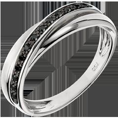 Ring Saturnus Diamant - 13 zwarte diamanten en wit goud - 9 karaat