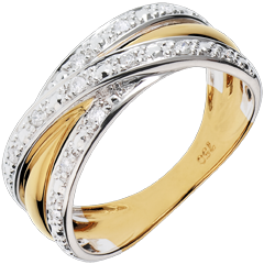 Ring Saturnus Illusie - geel goud, wit goud - 13 diamanten