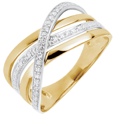Ring Saturnus Vierling - 9 karaat geelgoud - Diamanten - 9 karaat