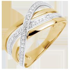 Ring Saturnus Vierling - geel goud - diamanten - 9 karaat