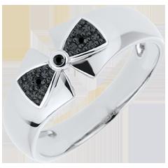 Ring Schleife Amelia in Weißgold mit schwarzen Diamanten
