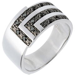 Ring Set Square - White gold and black diamonds