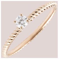 Ring Solitair Gouden Koord - Roze Goud - 0.1 karaat