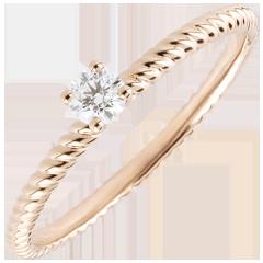 Ring Solitair Gouden Koord - Roze Goud