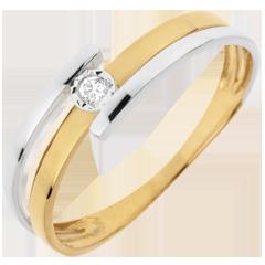 Ring Solitaire Gezoend - 18 karaat witgoud en geelgoud