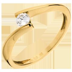 Ring Solitaire Liefdesnest - Apostrophe - 18 karaat geelgoud - 0.16 karaat Diamant
