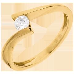 Ring Solitaire Liefdesnest - Apostrophe - 18 karaat geelgoud - 0.2 karaat Diamant
