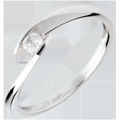 Ring Solitaire Liefdesnest - kreek - 18 karaat witgoud - 0.11 karaat