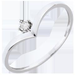 Ring Solitaire Waardevol - 18 karaat witgoud - 0.01 karaat diamant