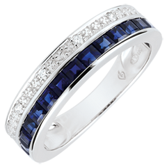Ring Sternbilder - Himmelszeichen - kleines Modell - blaue Saphire und Diamanten - Weißgold 9 Karat