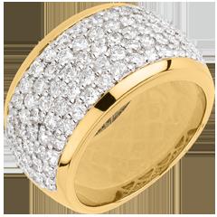 Ring Sterrenbeeld - Hemels Landschap - geel goud geplaveid - 2,05 karaat - 79 diamanten