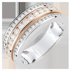 Ring Sterrenbeeld - Melkweg - 9 karaat witgoud en rozégoud - 0,63 karaat - 52 Diamanten