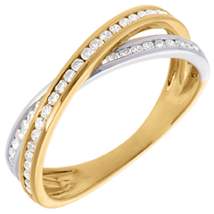Ring Tandem - 0.26 karaats - 43 Diamanten - 18 karaat witgoud en geelgoud