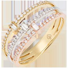 Ring Trilogie - 3 soorten goud 18 karaat en diamanten